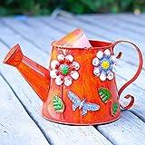 Pequeña regadera Impresión Regadera de la Vendimia, los hogares de riego de Color Hierro regadera, Flor de riego Pulverización Regadera (3L, Naranja) Regadera para Plantas (Color : Orange)