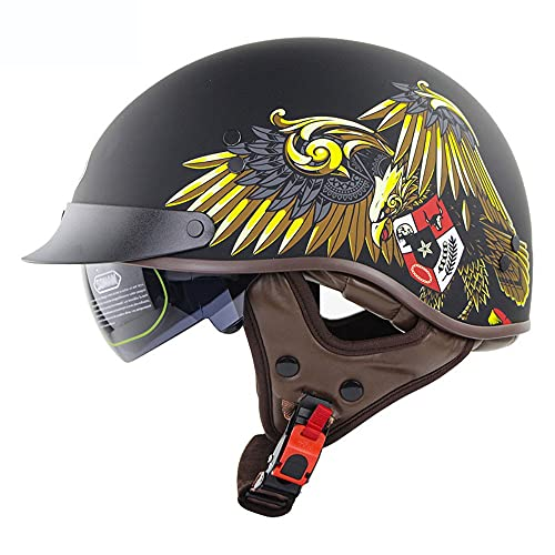 Casco Moto Abierto Medio Casco De Motocicleta Retro para Hombre Mujer, ECE/Dot Homologad Casco De Seguridad Ciclomotor Gafas Incorporadas De LiberacióN RáPida M~XXL