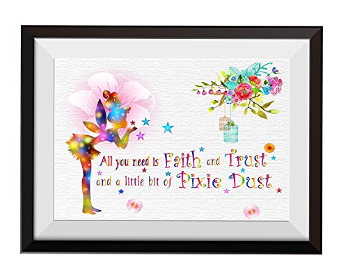 Uhomate Fairy All You Need is Faith and Trust Quote Home Canvas Prints Wall Art Inspirational Quotes Wall Decor Living Room Bedroom Bathroom Artwork C003 (8X10)