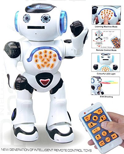 Top Race Remote Control Robot Toy Walking Talking Dancing Toy Robots for Kids, Sings, Reads Stories, Math Quiz, Shoots Discs, Voice Mimicking. Educational Toys for 3 4 5 6 7 8 9 Year Old Boys and up