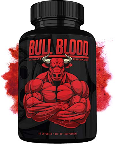 Bull Blood Male Enhancing Pills - Enlargement Booster for Men - Increase Size, Strength, Stamina - Energy, Mood, Endurance Boost - All Natural Performance Supplement - 60 Capsules - Made in USA