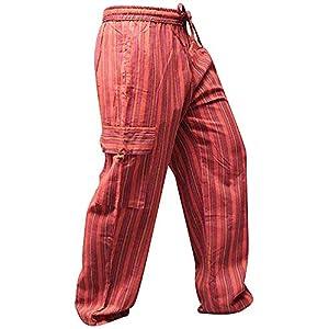 SHOPOHOLIC FASHION Pantalones hippy de bolsillo lateral de pierna ancha a rayas multicolor Para unisex Adultos | DeHippies.com