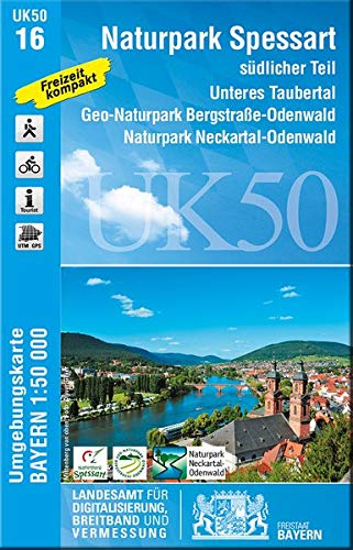 UK50-16 Naturpark Spessart südlicher Teil: Unteres Taubertal, Geo-Naturpark Bergstraße-Odenwald, Naturpark Neckartal-Odenwald, Erlenbach a. Main, ... Karte Freizeitkarte Wanderkarte)