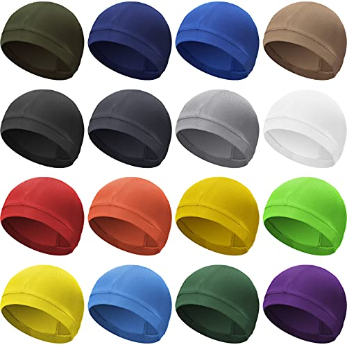 Geyoga 8 Pieces Cooling Cycling Helmet Liner Beanie Cap Sweat Wicking Skull Cap Running Hats for Men and Women (Assorted Colors)
