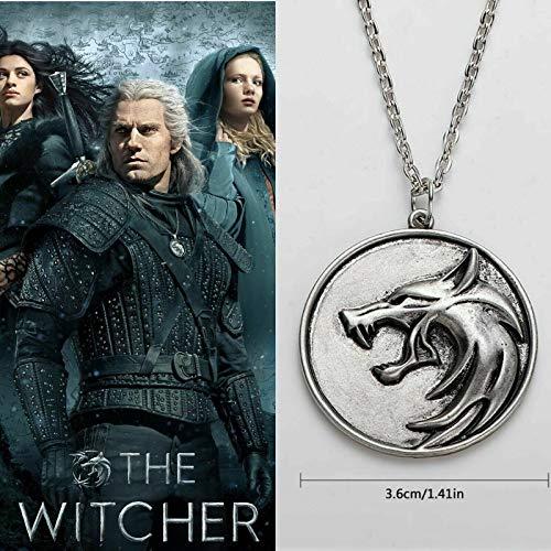 Witcher The Geralt Netflix Hexer Zubehör Wolfskopf Medaillon Anhänger Halskette TV