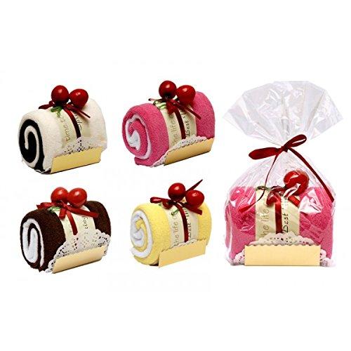 DISOK - Toalla EN Forma DE Tronco Pastel EN Bolsa DE Regalo - Detalles, Regalos y Recuerdos para Bodas Originales, Prácticos, Exclusivos. Toallitas en Forma de Pasteles, Cupcakes. Cumpleaños