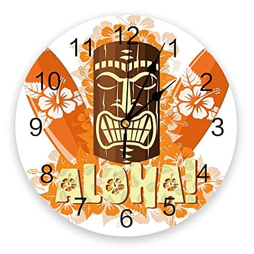 Reloj de pared redondo, máscara tiki silenciosa para colgar en la pared que no hace tictac con tabla de surf naranja y decoración de pared con flores para cocina, sala de estar, dormitorio, 10 pulgada