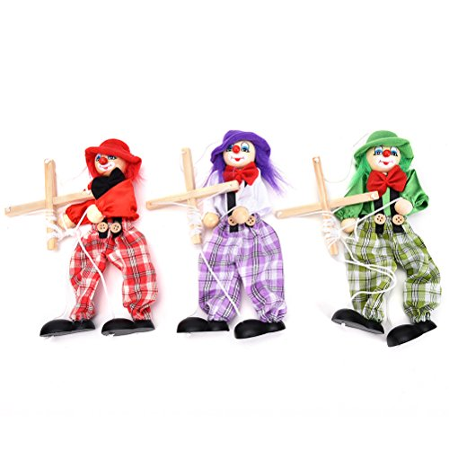 7thLake 1 Stücke Ziehen String Marionette Holz Marionette Gemeinsame Aktivität Puppe Clown Kinder Spielzeug, Zufällige Farbe