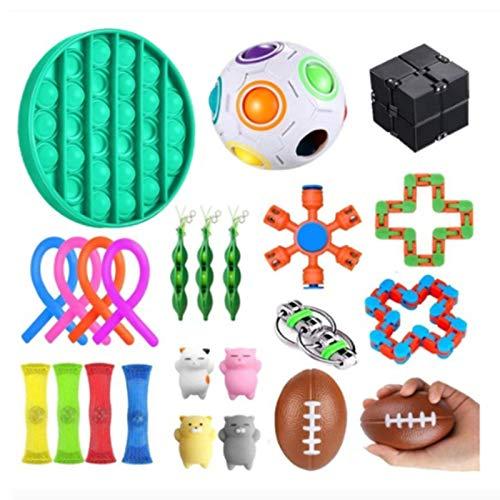 Nrkin Sensory Toys Set, Fidget Toy Set, Stressabbau-Spielzeugset, Premium- und langlebiges Stressabbau-Spielzeug für Kinder Erwachsene, 24 Stück