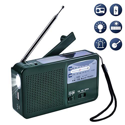 Portátil FM Am Radio Recargable para emergencias Radio con Manivela y Carga Solar con 500mAh led de Emergencia de la Alarma para Acampar Viajar Actividades al Aire