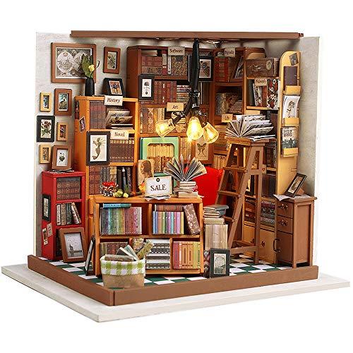 Fsolis DIY Puppenhaus Miniatur-Kit mit Möbeln, 3D Holz Miniaturhaus mit Staubschutz und Musikbewegung, Miniatur Puppenhaus Kit Kreatives Geschenk DG102