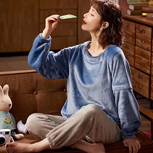 Empty Herbst Winter Flanell Pyjama Set Frauen Rundhals Flanell Pyjama Langarm Top & Bottoms können außerhalb getragen Werden -XL_50-57.5KG