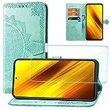 Yohii Cover per Xiaomi Poco X3 PRO/Poco X3 NFC + Vetro Temperato, Flip Caso in PU Pelle Libro Portafoglio Slot Schede Chiusura Magnetica Custodia in Pelle Stampata Mandala - Verde
