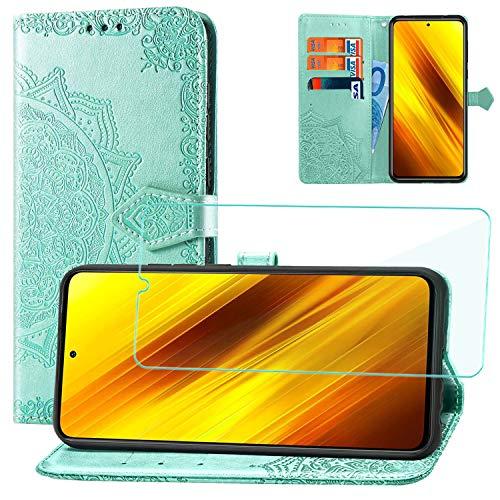 Yohii Funda para Xiaomi Poco X3 Pro/Xiaomi Poco X3 NFC + Protector de Pantalla, Libro Caso Piel PU Soporte Plegable Ranuras Cartera con Tapa Tarjetas Magnético Cuero Flip Carcasas - Verde
