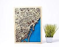 バルセロナ 木製地図 スペイン壁アート スモールスケールマップ 男性への誕生日プレゼント 3D木製都市地図 バルセロナ 3D木製地図 女の子へのクリスマスギフト 都市木製地図 バルセロナ 木製装飾 スペイン3Dマップ L