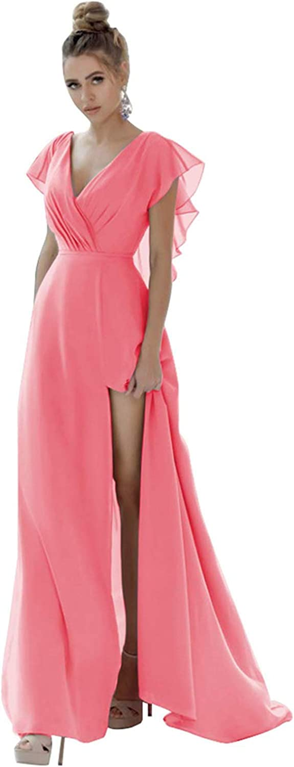 San Diego Mall BenBoer V-Neck Bridesmaid Dresses Long Side Columbus Mall with Slit Dress Prom