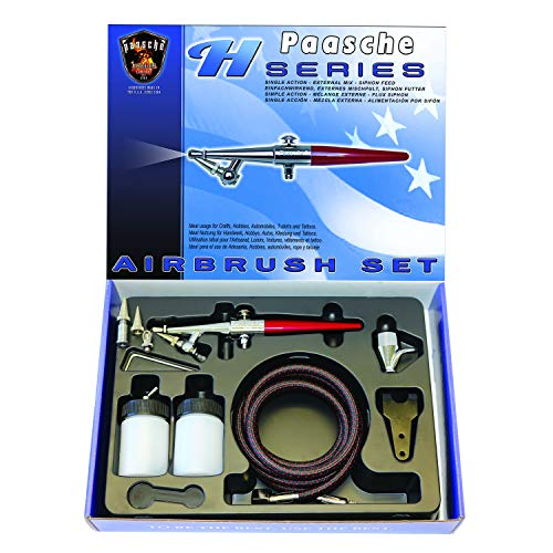 Paasche Airbrush Single Action Siphon Feed Airbrush-Set, Mehrfarbig
