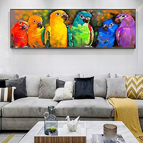 Animal de la Acuarela Abstracta de la Lona de Arte Pintura de Pared de pósters Loro Modern Pop Art Graffiti for la Cama habitación Cuadros Decoración para (Color : Yellow, Size (Inch) : 50x150cm)