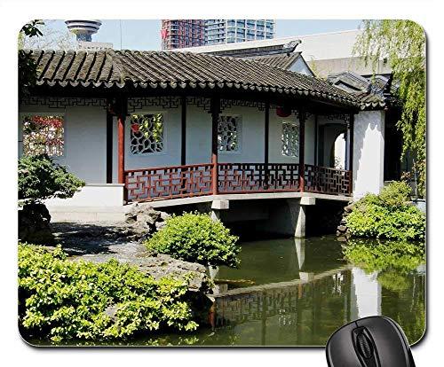 Mouse Pad Chinesischer Garten Garten Chinesische Natur Asiatischer China Student 25X30Cm Schlafsaal Weihnachten Maus Matte Tastatur Mauspad Bürogeschenk Desktops Gummispiel Spiel