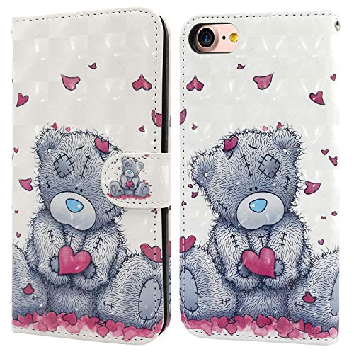 iPhone 7 Plus/8 Plus Case, Ailisi 3D visual Cute Love heart Teddy bear Leather wallet flip case magnetic protective cover with shockproof TPU, Stand function Card Slots +1 pcs Lanyard Strap