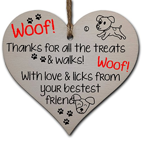 Handmade Wooden Hanging Heart Plaque Gift for Dad this Fathers Day Dog...