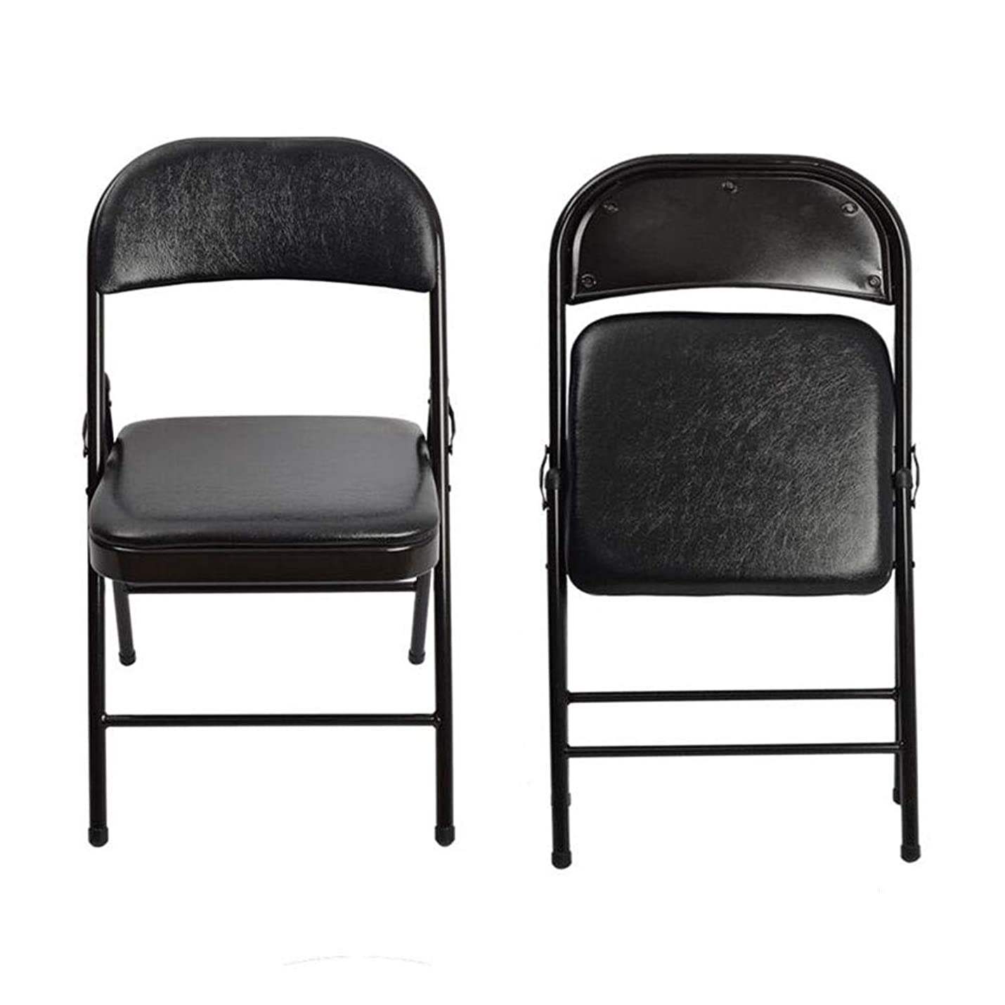 克服するジャズキャベツ折りたたみ椅子 鉄骨、 ポータブルチェア 折り畳み式シート 人間工学に基づいた 背もたれ ために 結婚式 パティオ 庭園 CJC (Color : Black)