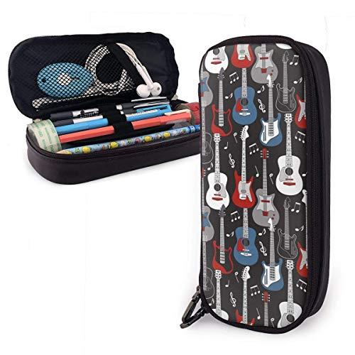 Bidetu Gitaren Lederen Potlood Case Rits Pen Bag Box Houder Studenten Multifunctionele Cosmetische Make-up Potlood