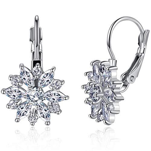 1 Paar Ohrringe Sterling Silber mit Blume Zirkonia Crystal Clip On Ohrringe für Frauen Mädchen 3A Zirkon Ohrringe Damen Elegante Ohrringe mit Schmuckbox (Weiß)