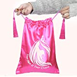 Wig Bags,Satin Packaging Bags for Bundles,Hair Extensions,Tools,3 Pieces Hair Storage Bags and Travel Bags with Tassel Gift (Red 3 Bags)