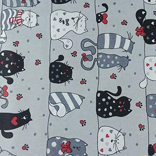 Pingianer 11,99€/m Katze 100% Baumwolle Baumwollstoff Kinder Meterware Handwerken Nähen Stoff (Katze Grau Pfoten, 100x160cm (11,99€/m))