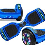 CHO POWER SPORTS Hoverboard 6.5' inch Wheel Electric Smart Self Balancing Scooter with Built-in Wireless Speaker Shiny LED Wheels and Side Lights Safety Certified (Chrome Blue)