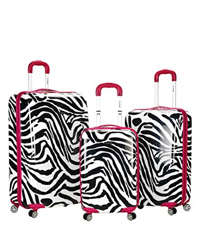 Rockland Safari Hardside Spinner Wheel Luggage, Pink Zebra, 3-Piece Set (20/24/28)