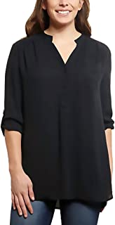 Ladies Roll Tab Blouse Size Small, Black