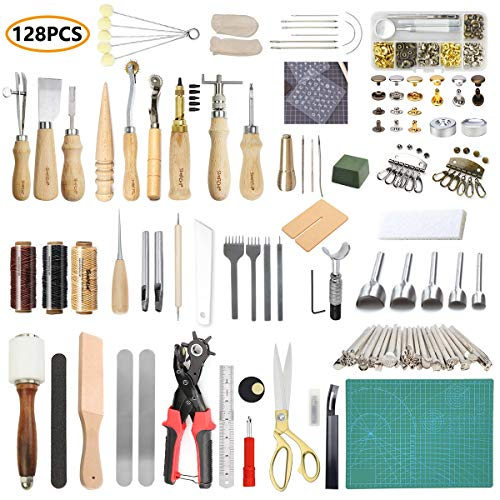 SIMPZIA Leather Working Tools 128 Pieces Leather Hand Sewing Tools Kit with Prong Punch Edger Creaser Groover Awl for Sewing Leather, Canvas, DIY Leathercraft Tool, Be Careful of Its Sharp Edge