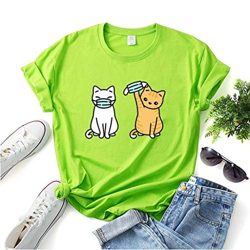 LXHcool Funny T-Shirt Cat Wearing a mask Coron_avirus I Survived Cov_id 19 T-Shirt Woman (Color : Green, Size : Small)