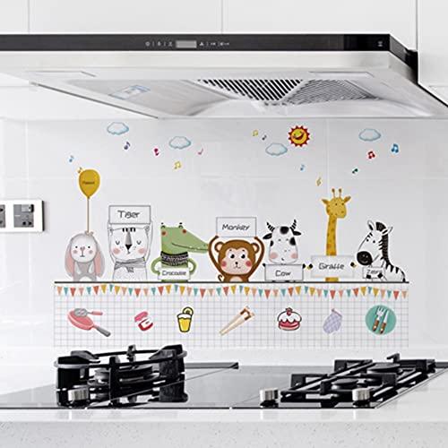 HUIJK Dormitorio decorativo Cocina Papel pintado autoadhesivo Cocina Estufa Gabinete Pegatinas Aceite Impermeable Dibujos Animados Decoración del Hogar Papel pintado Decorativo (Color: B)