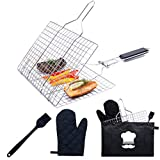 Stainless Steel Folding Grill Basket with Brush and Heat-Resistant Glove - Portable Outdoor Camping BBQ Accessories Rack for Grilling Fish, Chicken, Meat, Steak, Vegetables, Kabobs, Chops, Seafood