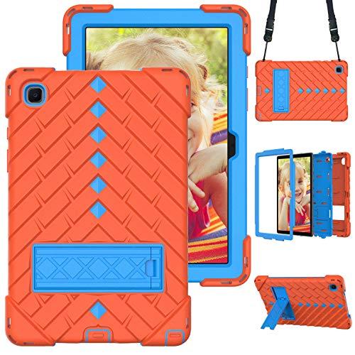 A-BEAUTY Funda para Galaxy Tab A7 10.4 pulgadas 2020 (SM-T500/T505/T507), con protector de pantalla, correa para el hombro, a prueba de golpes, soporte de apoyo, naranja y azul