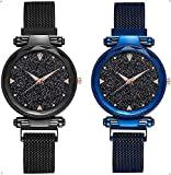 SELLORIA Analogue Black-Blue Casual Black Dial Combo of Magnet Watch - Pair of 2 - for Girls & Women