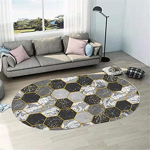 WCCCW Patrón geométrico Hexagonal Impresión de Alta definición Oval Non-Slip Corredor de Interiores Decoración de la Cama Alfombra para el hogar-40x60cm Suave Moderna Alfombra Antideslizante Alfombra