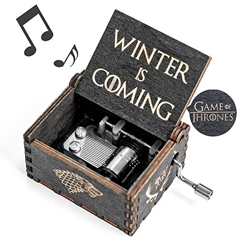 Game-Thrones Music Box, Wood Merchandise Vintage Classic Hand Crank Musical Box Birthday Gift for Boyfriend Kids Man Game of Thrones Toy Present Bedroom Decor Collectible Collectible Music Box Gift
