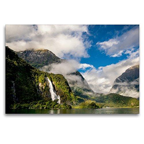 CALVENDO Premium Textil-Leinwand 120 x 80 cm Quer-Format Faszination Neuseeland: Milford Sound, Leinwanddruck von Mario Pr8cht