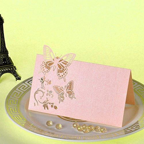 perfeclan 50er-Set Aushöhlen Schmetterling Gästekarten Platzkarten Einladungkarten Namenkarten Tischkarten für Jede Anlässe