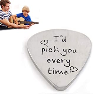 Thanksgiving Day Christmas Day Gift Guitar Pick Custom Gift I'd Pick You Every Time Premium Stainless Steel Mens Guitar Pi...