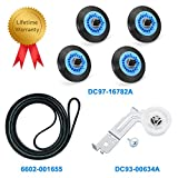Dryer Repair Kit Replacement for Samsung Maintenance DC97-16782A Drum Roller Kit DC93-00634A Idler Pulley 6602-001655 Belt Support Replace AP5325135 AP4373659 AP6038887 Compatible PS4221885 PS4133825