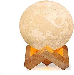 YAOJU Lámpara de luna,LED de Estado de ánimo con Interruptor Táctil, Lámpara de Luna 3D de 15 cm, Luz Nocturna Seleccionable y Regulable de 3 Colores, Recargable por USB, Regalos para La Decoración