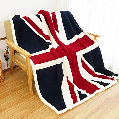 Ukeler Flannel Sherpa Throw 50'' x 60'' Union Jack Fleece Blanket Soft Comfy Flannel Blanket Throws for Bed/Couch/Sofa/Office/Camping