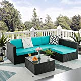 Pretzi Patio Furniture Sets Outdoor Sectional Sofa with Table All Weather Rattan Wicker Couch with Washable Cushions Conversation Set for Porch Backyard Garden Poolside Balcony (5 pcs, Light Blue)
