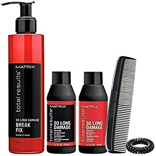 Matrix Total Results So Long Damage Shampoo Conditioner & Break Fix Leave In Elixir, 3 Piece Set (Free Comb & Spiral Hair Tie Included)