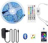 ZGLXZ Tira de luz LED Bluetooth Music SMD 5050 2835 5M 10M 15M Cinta RGB impermeable DC 12V Diodo de cinta para decorar la habitación para Navidad (color: B, tamaño: 15M)